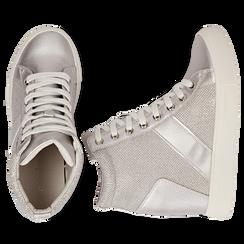 Sneakers argento in tessuto laminato con zeppa, Scarpe, 132005004LMARGE036, 003 preview