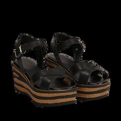 Sandali platform neri in eco-pelle, zeppa righe optical 8 cm , Saldi Estivi, 13A139255EPNERO035, 002a