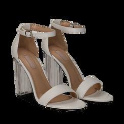 Sandali bianchi in eco-pelle, tacco plexi 10 cm , Sandali con tacco, 132708221EPBIAN035, 002a