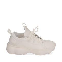 Dad shoes bianche in eco-pelle, Sneakers, 15K319391EPBIAN035, 001a