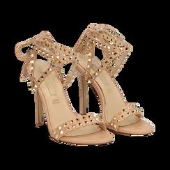 Sandali borchiati nude in eco-pelle, tacco 11,50 cm,