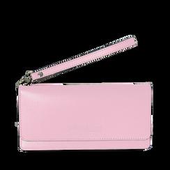 Portafoglio rosa in eco-pelle con laccetto per il polso, Borse, 133723651EPROSAUNI, 001a