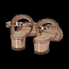 Sandalias efecto espejo color dorado/rosa, tacón 4 cm, OPORTUNIDADES, 154942401SPRAOR036, 004 preview