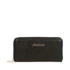 Portafogli nero in eco-pelle, Primadonna, 155122519EPNEROUNI, 001a