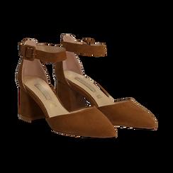 Décolleté marrone in microfibra con cinturino alla caviglia, tacco a blocco 6,5 cm, Scarpe, 132182395MFMARR037, 002 preview