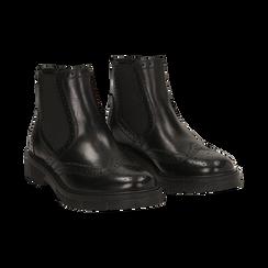 Chelsea boots en cuir noir, Promozioni, 167723704PENERO036, 002 preview