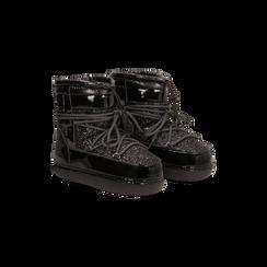 Scarponcini da neve neri dettagli in vernice e glitter, Scarpe, 124106721GLNERO037, 002