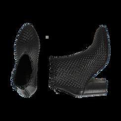 Ankle boots neri in pelle intrecciata, tacco 7,50 cm, Primadonna, 15C515018PINERO036, 003 preview