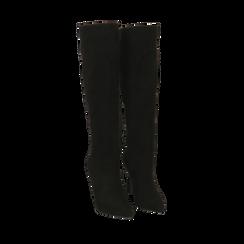 Stivali neri in microfibra, tacco 10,50 cm , Primadonna, 162146862MFNERO039, 002a