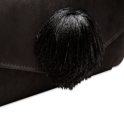 Pochette nera scamosciata con pon-pon, Saldi Borse, 123369415MFNEROUNI, 004 preview