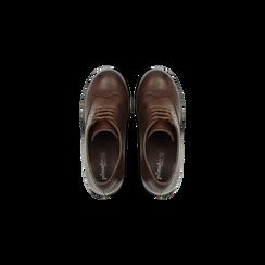 Francesine stringate marroni, tacco 9,5 cm, Scarpe, 129320059EPMARR, 004 preview