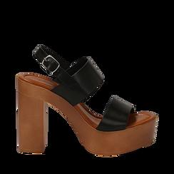 Sandali platform neri in eco-pelle con due fasce, tacco 12 cm , Saldi Estivi, 132147761EPNERO035, 001a