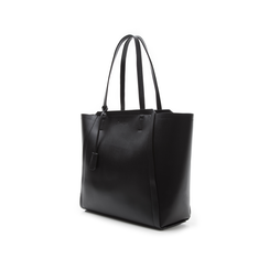 Maxi-bag nera in eco-pelle con design a trapezio, Borse, 133763772EPNEROUNI, 004 preview