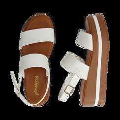 Sandali platform bianchi in eco-pelle, zeppa 5 cm , Primadonna, 132147512EPBIAN, 003 preview