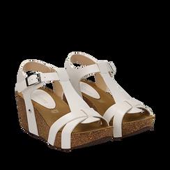 Sandali platform bianchi in eco-pelle, zeppa in sughero 7 cm , Primadonna, 132141452EPBIAN035, 002a