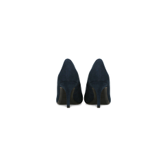 Décolleté scamosciate blu con punta affusolata, tacco medio 7,5 cm, Scarpe, 122111552MFBLUE, 003 preview