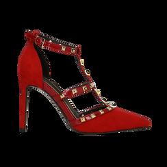 Décolleté rosse scamosciate con cinturino a T borchiato, tacco stiletto 10 cm, Scarpe, 122146820MFROSS, 001 preview