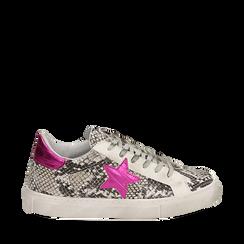 Sneakers bianco/nere stampa pitone con stella, Scarpe, 15F999101PTBINE035, 001a