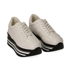 Sneakers platform bianche in eco-pelle, Scarpe, 149361611EPBIAN035, 002 preview