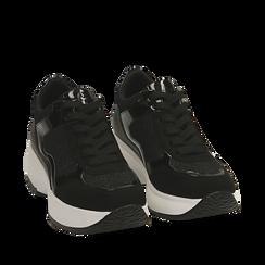 Sneakers nere glitter, zeppa 5 cm , Primadonna, 162800482GLNERO035, 002a