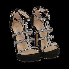 Sandali neri in microfibra, tacco 12,50 cm, OUTLET, 152150112MFNERO037, 002 preview