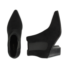 Camperos a punta neri in microfibra, tacco 7 cm , Scarpe, 141785496MFNERO035, 003 preview