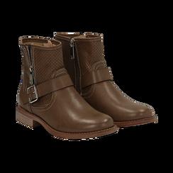 Biker boots taupe in eco-pelle con gambale traforato estensibile, tacco 3 cm, Scarpe, 130619015EPTAUP037, 002 preview