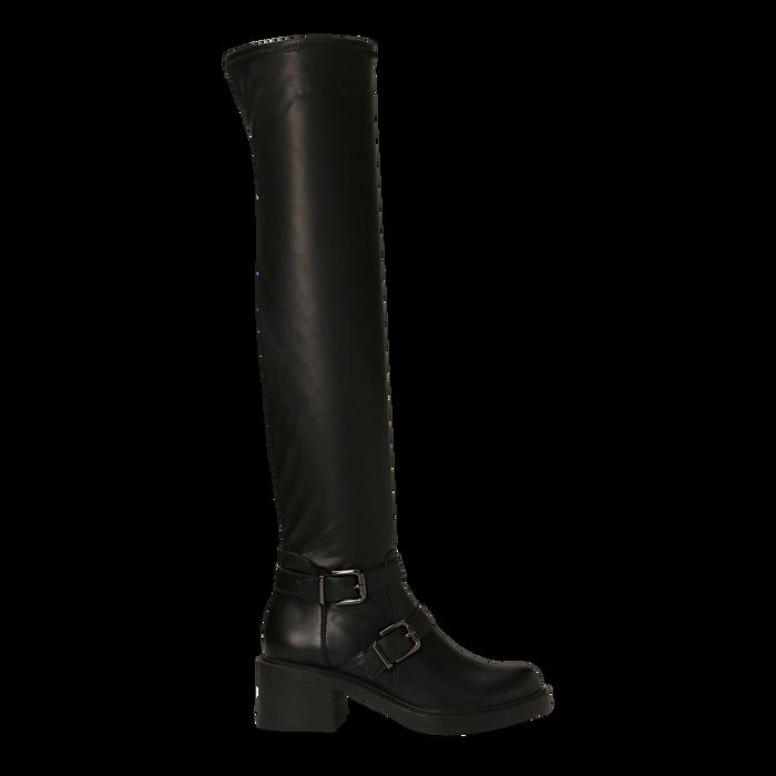 Stivali sopra il ginocchio, tacco 4 cm, Primadonna, 120618172EPNERO