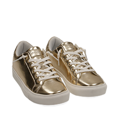 Sneakers oro in laminato, Sneakers, 152621201LMOROG035, 002a