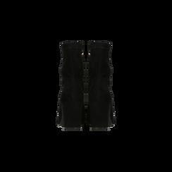 Tronchetti neri scamosciati, tacco 7,5 cm, Scarpe, 122115991MFNERO, 003 preview