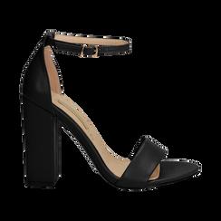 Sandali minimal neri in eco-pelle, tacco 10,5 cm ,
