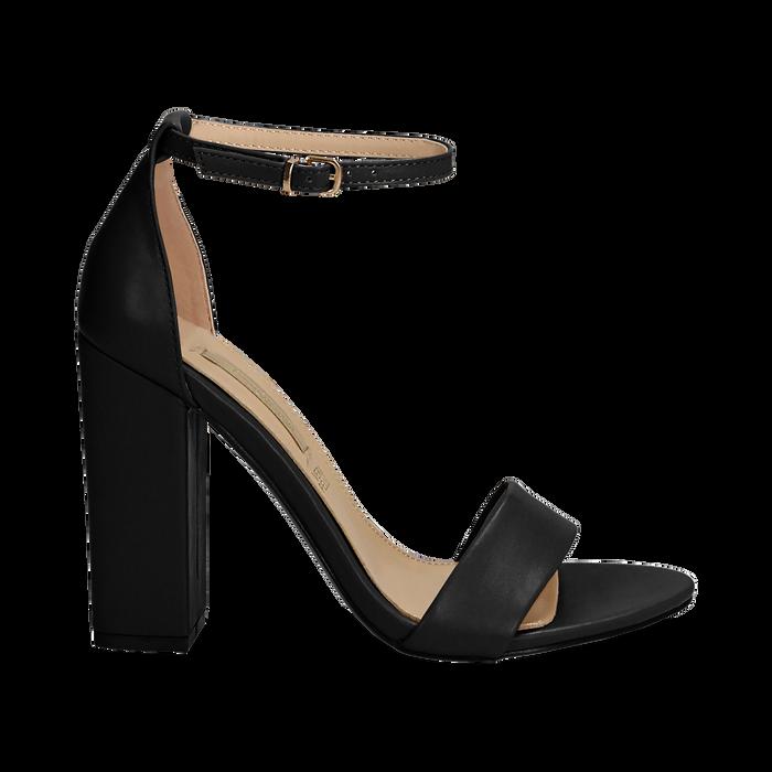 Sandali minimal neri in eco-pelle, tacco 10,5 cm , Sandali con tacco, 132133791EPNERO037