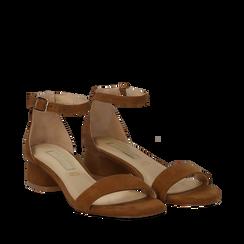 Sandali marroni in microfibra, tacco cilindrico 3,50 cm, Scarpe, 132133821MFMARR036, 002a