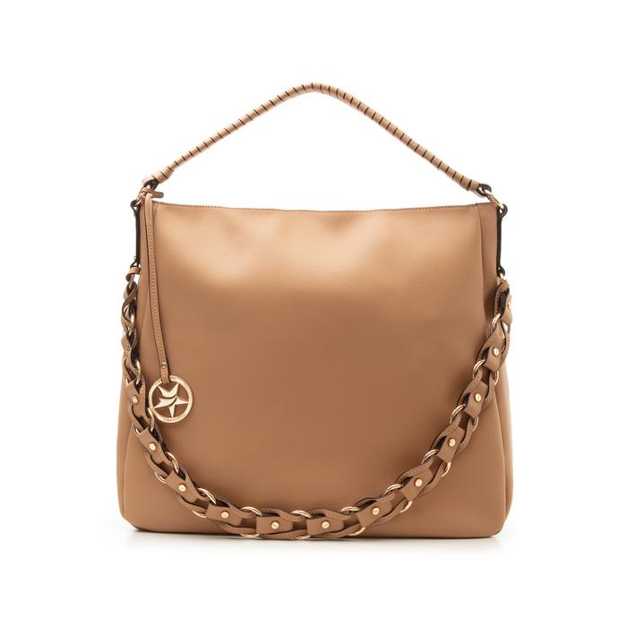 Maxi bag cuoio in eco-pelle con tracolla decor, Borse, 133881161EPCUOIUNI
