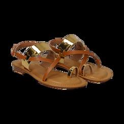 Sandali infradito cuoio in eco-pelle con dettagli metal,