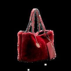 Borsa shopper bordeaux in pelliccia con pochette e portamonete, Borse, 125702076FUBORDUNI, 003 preview