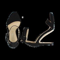 Sandali neri in microfibra, tacco stiletto 10 cm, Sandali con tacco, 132127405MFNERO037, 003 preview