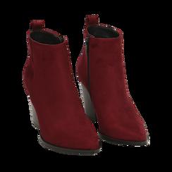 Ankle boots bordeaux in microfibra, tacco 8,50 cm, Primadonna, 160585965MFBORD035, 002a