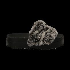 Ciabatte grigie in eco-fur con catenelle, Primadonna, 112061302FUGRIG041, 001 preview