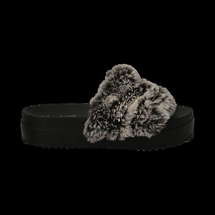 Ciabatte grigie in eco-fur con catenelle, Primadonna, 112061302FUGRIG041