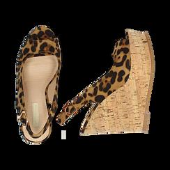 Sandali platform leopard in microfibra, zeppa in sughero 12 cm , Primadonna, 134900982MFLEOP035, 003 preview