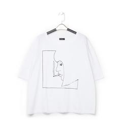 T-shirt bianca in tessuto con stampa nera minimal , Abbigliamento, 13I730071TSBIANL, 001 preview