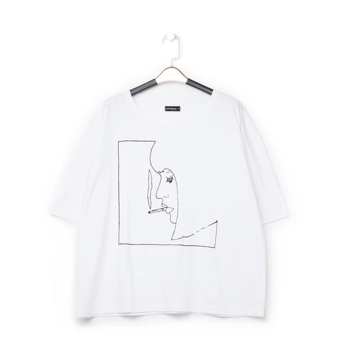 T-shirt bianca in tessuto con stampa nera minimal , Abbigliamento, 13I730071TSBIANL