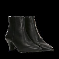 Tronchetti neri in vera pelle, tacco a rocchetto basso 6 cm, Primadonna, 127200154VINERO036, 002a