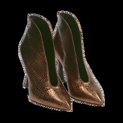 Ankle boots bronzo laminato, tacco 9,5 cm , Primadonna, 165200231LMBRON035, 002 preview