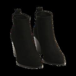 Ankle boots neri in microfibra, tacco 8,50 cm, Primadonna, 160585965MFNERO035, 002 preview