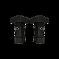 Biker neri in nabuk con maxi-risvolto, Scarpe, 12A700272MNNERO035, 003 preview