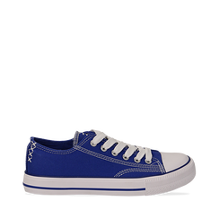 Sneakers blu in canvas, Scarpe, 137300862CABLUE035, 001a
