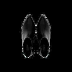 Tronchetti neri con zip, tacco medio 4,5 cm, Scarpe, 122752721EPNERO, 004 preview