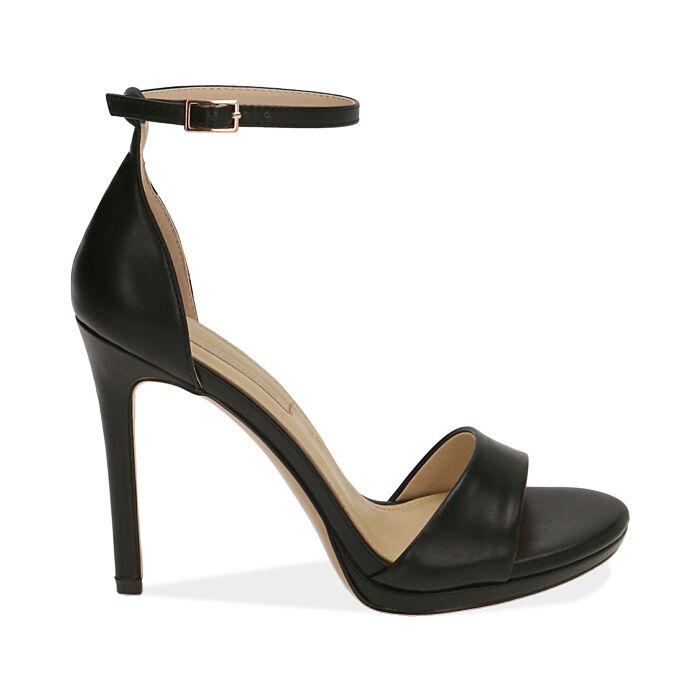 Sandali neri, tacco 11,5 cm, Primadonna, 172133410EPNERO036